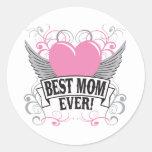 La mejor mamá nunca pegatina redonda
