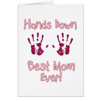 La mejor mamá nunca tarjeta de felicitación