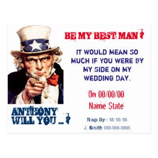 La mejor oferta del padrino de boda del hombre del postal