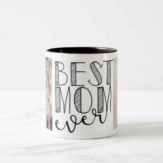 La mejor taza de la mamá nunca taza de café de dos colores