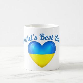 La mejor taza del corazón de la bandera de Ucrania