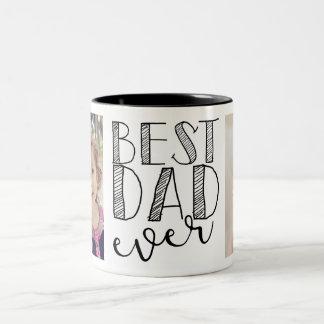 La mejor taza del papá nunca taza de café de dos colores