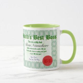 La mejor taza del premio de Boss Certicate del