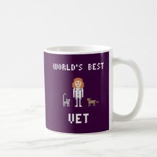 La mejor taza femenina del veterinario del pixel