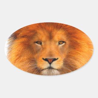 La melena del león pegatina ovalada