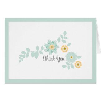 La menta floral le agradece cardar tarjeta pequeña