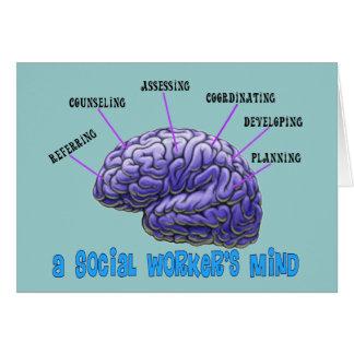 La mente del asistente social del asistente social tarjeta de felicitación