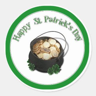 La mina de oro de St Patrick Pegatinas Redondas