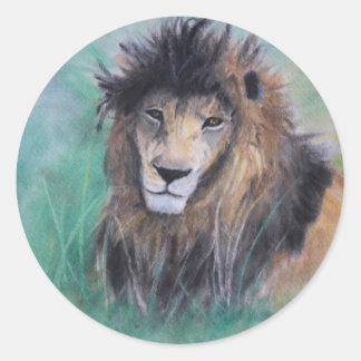 La mirada del león etiqueta redonda