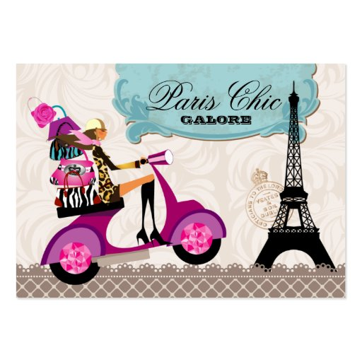 La moda frunce la torre Eiffel de París de la vesp Tarjeta De Negocio