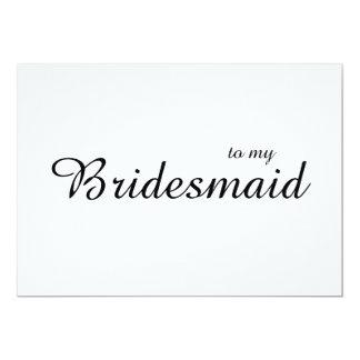 La moda linda a mi boda de la dama de honor le invitación 12,7 x 17,8 cm