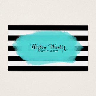 La moda raya al artista de maquillaje blanco negro tarjeta de negocios