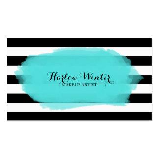 La moda raya al artista de maquillaje blanco negro tarjetas de visita