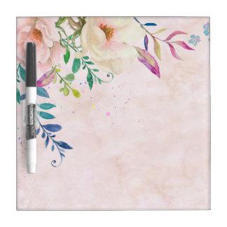 La moda se ruboriza salpicadura floral de la pizarra blanca