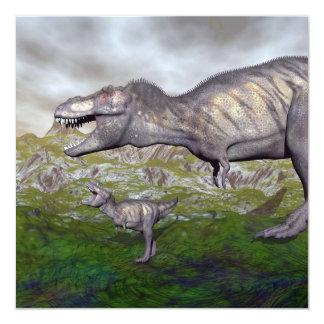La momia y el bebé 3D del dinosaurio del rex del Invitación 13,3 Cm X 13,3cm