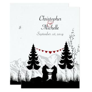 La montaña encantadora de la silueta lleva el invitación 12,7 x 17,8 cm