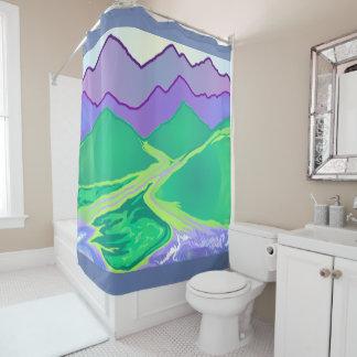 La montaña murmura la cortina de ducha del arte 2