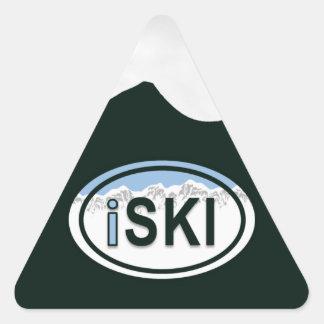 """La montaña oval de esquí del """"iSKI"""" marca a los Pegatina Triangular"""