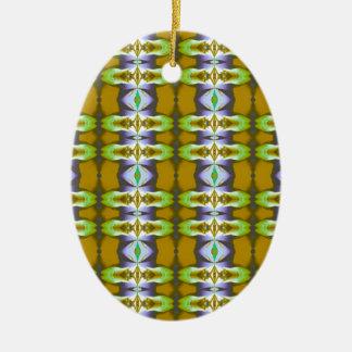 La mostaza verde violeta encadena el modelo adorno ovalado de cerámica