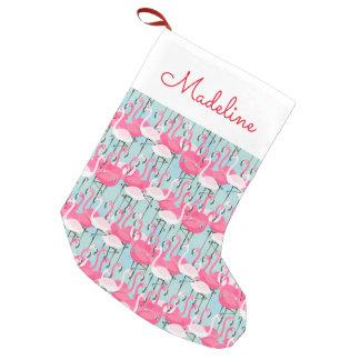 La muchedumbre rosada y blanca de flamencos el | calcetín navideño pequeño