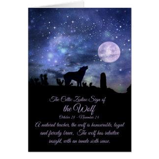 La muestra céltica del zodiaco del lobo, escorpión tarjeta de felicitación