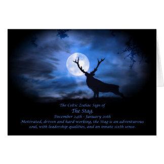 La muestra céltica del zodiaco del macho tarjeta de felicitación