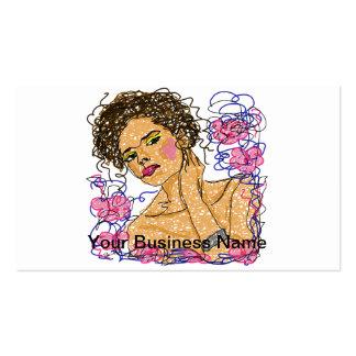 La mujer de la moda florece práctica de dibujo del tarjeta de visita