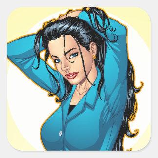 La mujer de negocios que tira su pelo hacia arriba pegatina cuadrada