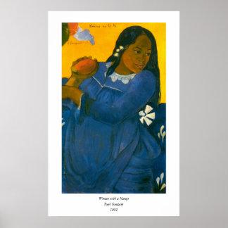 La mujer de Paul Gauguin con un mango 1892 Impresiones