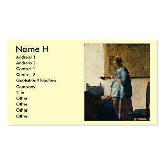 La mujer de Vermeer en azul que lee una letra Tarjetas De Visita