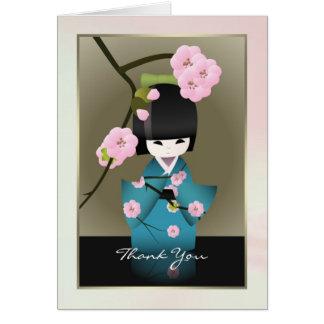 La mujer japonesa en kimono y Sakura le agradecen Tarjeta De Felicitación
