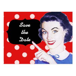 la mujer punteaguda de los años 50 ahorra la fecha postal