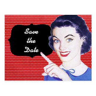 la mujer punteaguda de los años 50 ahorra la fecha tarjetas postales