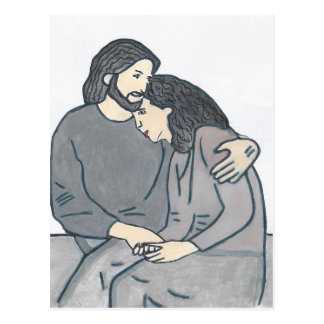 La mujer sola encuentra a dios postal