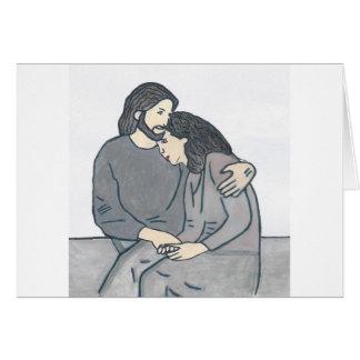 La mujer sola encuentra a dios tarjeta de felicitación