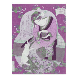 La mujer y el gato japoneses rosados/remezclan de  postal