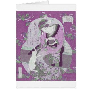 La mujer y el gato japoneses rosados/remezclan de  tarjeta de felicitación