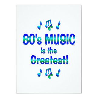 la música 60s es la más grande invitación 13,9 x 19,0 cm
