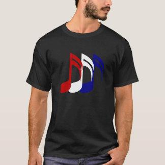 La música azul blanca roja observa la camiseta