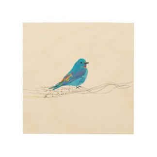 La música azul del pájaro del arte de madera de la