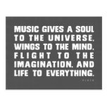 La música da un alma al universo tarjetas postales
