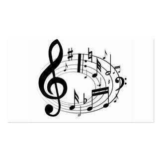 La música de la escala de la música observa negro tarjetas de visita