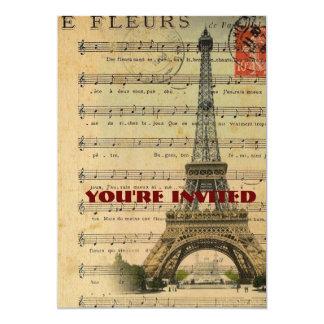 La música del vintage observa la torre Eiffel de Invitación 12,7 X 17,8 Cm