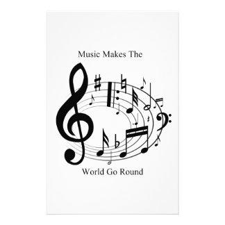 La música hace que el mundo va alrededor papeleria personalizada