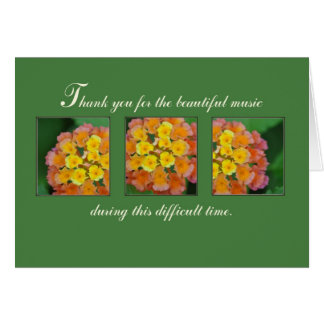 La música le agradece por funeral hermoso tarjetas