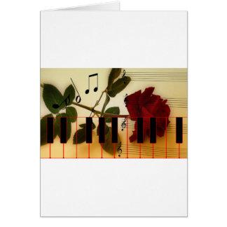 La música observa destino del flor del rosa rojo d felicitaciones