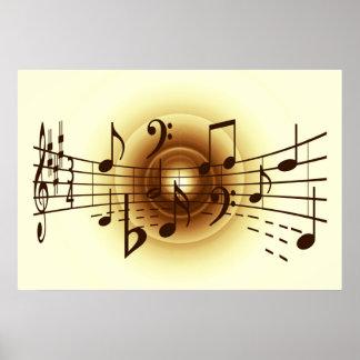 La música observa el ejemplo póster