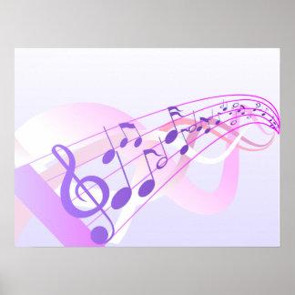 La música observa el fondo póster