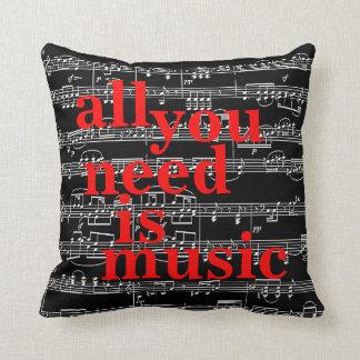 la música observa la decoración temática cojín