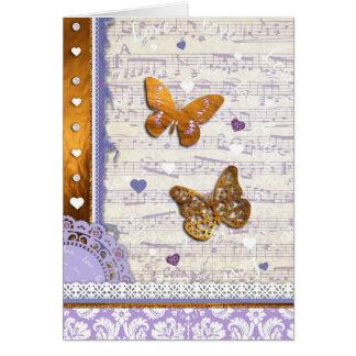 La música púrpura bonita de las mariposas del oro  tarjeton